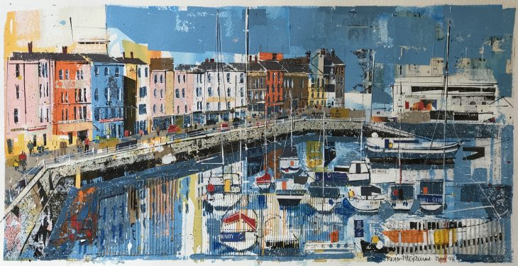 The vibrant colours of the buildings complement the boats and reflections in Ramsgate Harbour